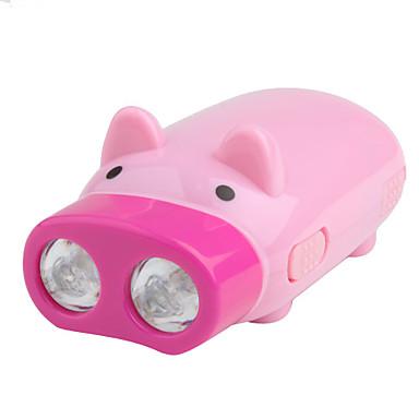 mode 1 porc-forme 2-LED Flashlight (120LM, dynamo, rose)