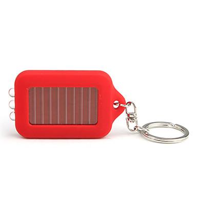 Solar Powered White Light 3-LED Keychain Flashlight (Red)