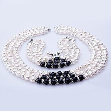 Resimdeki gibi Onyx İnci Takı Seti - Gümüş Dahil etmek Uyumluluk Düğün Parti Yıldönümü / Doğumgünü / Nişan / Hediye / Kolczyki / Kolyeler