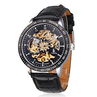 男性用 中空彫刻 スタイリッシュ 機械式 腕時計(ブラック)