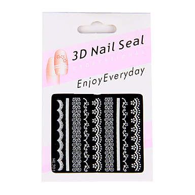 6 Nail Art Stickers French Style White/Black/Pin​k Lace