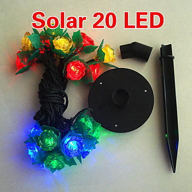 Solar 2M 20-LED Colorful Light Flower Design String Lamp for Christmas