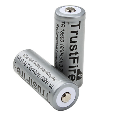 TrustFire 18500 1800mAh 3.7v bateria recarregável com PCB (2-pack)