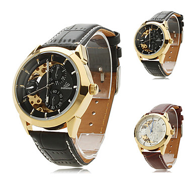 Mechanische Damen Armbanduhr mit PU Leder Armband 9261 (verschiedene Farben)