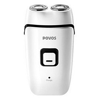 POVOS Dual Head Rechargeable Electric Rotary Shaver with Built-in AC Plug (White)