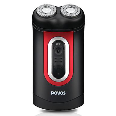Povos double tête rechargeable rasoir électrique rotatif (noir et rouge)