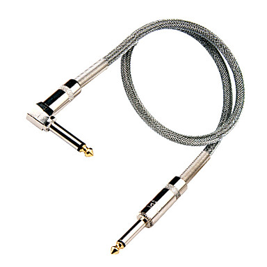 Silver Nylon Guitar Cable with Metal Right-angle Plug in 6 meter