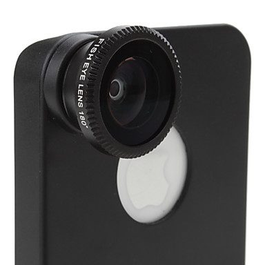 180 Degree Wide Angle Fish Eye Lens and Back Case for iPhone 4 and 4S (Black)
