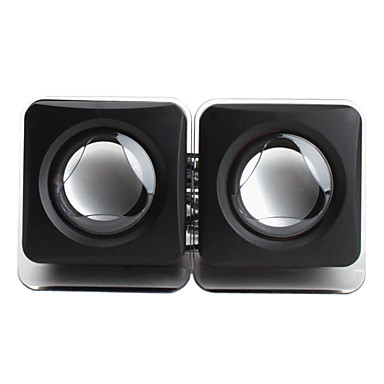 portable kabelbasert 3.5mm usb kube stil svarte høyttalere for iphone mp4 mp3 tablet pc mobiltelefon