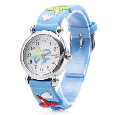 avion modèle bleu silicone bande de quartz analogique montre-bracelet pour enfants