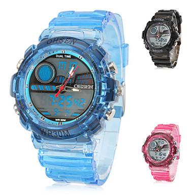 e194e02b4 multi-funkční pánské gumové analogové digitální multi-hnutí náramkové  hodinky s průhledným proužkem (