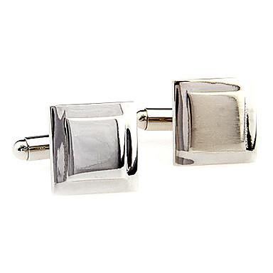 Men's Delicate Square Pattern Cufflinks (Silver)