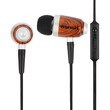 Kanen Wooden In Ear Earphone with Volume Control and Microphone for iPhone, iPad & Other Cellphone