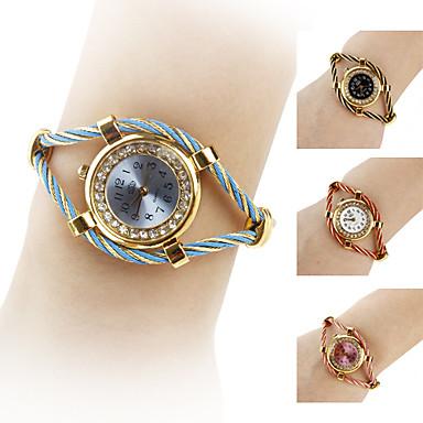 Femme Montre Tendance Bracelet de Montre Quartz Imitation de diamant Alliage Bande Etincelant Bracelet Noir Blanc Bleu Rouge Rose Violet