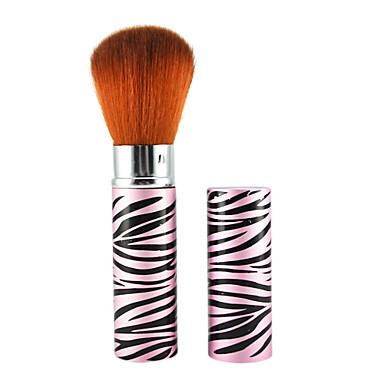 Retractable Cosmetic Face Makeup Brush in Platinum Pink Zebra Pattern Tube