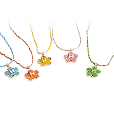 Lureme®Leather Necklace with Flower Pendant (Assorted Colors)