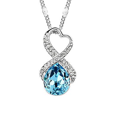aleación y flor de cristal forma de collar de platino plateado