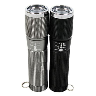 extérieur en alliage d'aluminium 3-Mode LED lampe de poche avec lentille télescopique (3xaaa/1x18650)