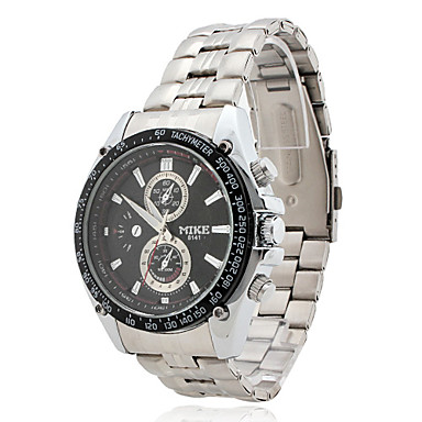 Men's Water Resistant Alloy Analog Quartz Wrist Watch (Silver)