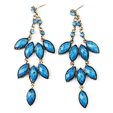 Three-Tier Floral Design Retro Earrings for Women (Blue)