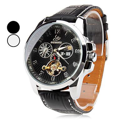 menns pu analog automatisk mekanisk armbåndsur (svart)