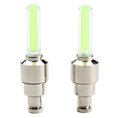 dæk hjul ventilhætten grønt lys LED-blitz lamper til bil / cykel / motorcykel (2-pack, 3xag10)