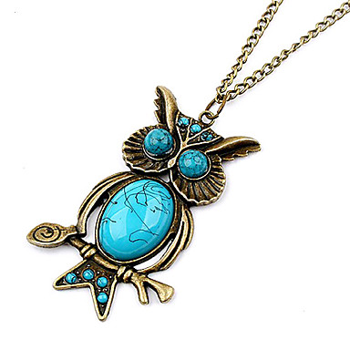 Gun Color Plated Vintage Owl Blue Gem Necklace