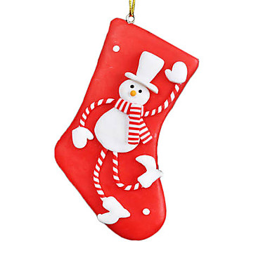 Navidad roja colgante de porcelana de un calcetín con un muñeco de nieve