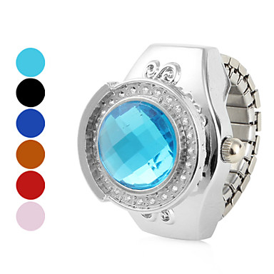 Women's Circle Shinning Alloy Analog Quartz Ring Watch (Assorted Colors)