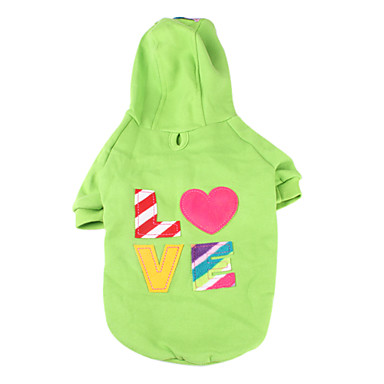Dog Hoodie Green Pink Dog Clothes Winter Spring/Fall Hearts Casual/Daily
