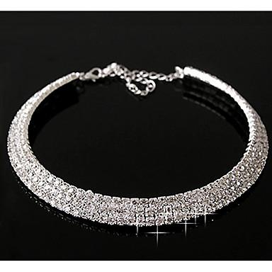 billige Mode Halskæde-Syntetisk Diamant Halskæder med flere lag Diamant stjernestøv Erklæring Damer Afslappet Fødselssten Sølv Skærmfarve Halskæder Smykker Til