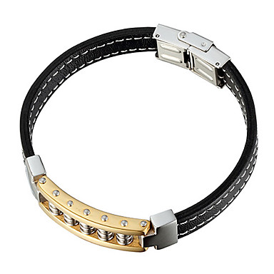 Titanium  Stainless Steel And Black Rubber Bracelet With Gold Plated Chain For Man With Gift Box