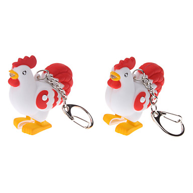 2-Pack Cute Rooster Keychain with Sound and Light Effect