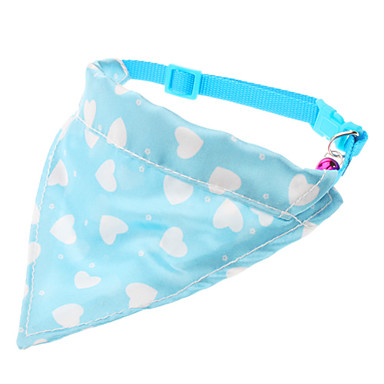 Lovely Heart Pattern Adjustable Collar Bandanas with Little Bell for Dogs (Neck:24-30cm)