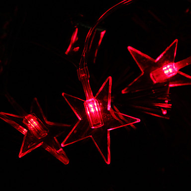 2.8M 20-LED Star Shaped Red Light String Fairy Lamp for Christmas (3xAA)