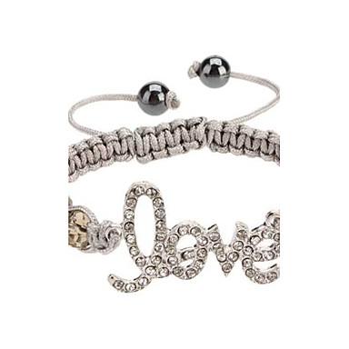 Love Pattern Diamond-studded Weave Bracelet