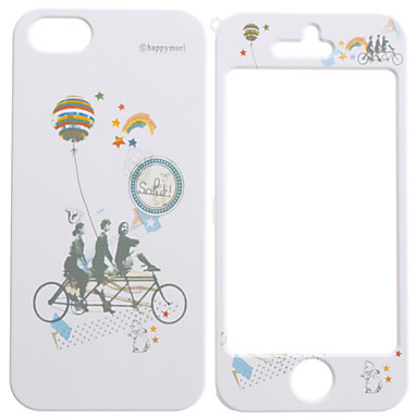 Three People Bicycle Pattern Detachable Full Body Hard Case for iPhone 5/5S