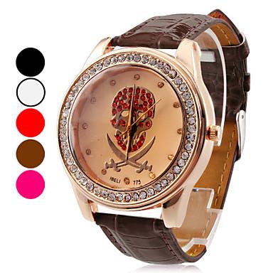 Women's Skull Design PU Analog Quartz Wrist Fashion Watch (Assorted Colors)