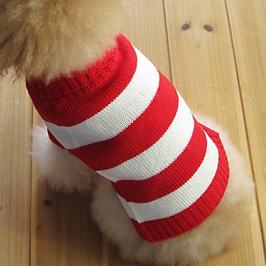 Kedi Köpek Kazaklar Köpek Giyimi Çizgi Kırmzı Pamuk Kostüm Evcil hayvanlar için Erkek Kadın's Moda Noel