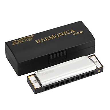 EASTTOP - (T10-B) Blues Harp with Black Plastic Box (Stainless Steel Cover Plate)