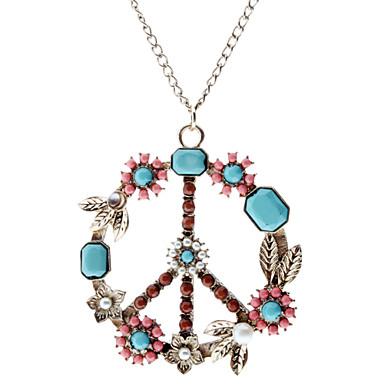 다채로운 평화 기호 패턴 목걸이