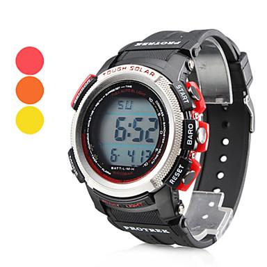 Men's Multi-Functional Style Rubber Automatic Digital Wrist Watch (Black)