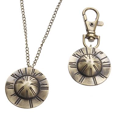 Unisex Strohhut Stil Legierung Analog Quarz Schlüsselbund Halskette Uhr (Bronze)