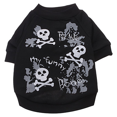 cheap Dog Clothing & Accessories-Dog Shirt / T-Shirt Dog Clothes Skull Black Cotton Costume For Spring &  Fall Summer Men's Women's Fashion Halloween