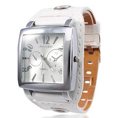Unisex Square Case White Dial Wide PU Band Quartz Wrist Watch Cool Watches Unique Watches