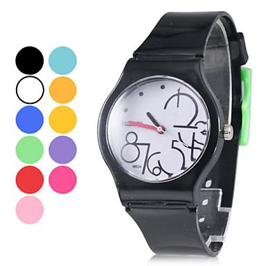 Pulso Unisex Estilo de borracha analógico Quartz Watch (Balck)
