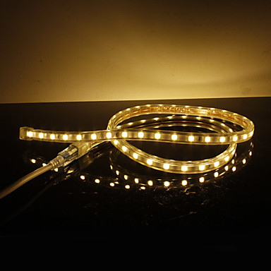 Impermeable 10W / M 5050 SMD luz blanca cálida Lámpara LED Strip (220V, seleccionable longitud)