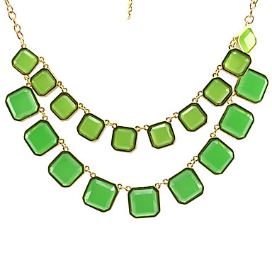 Double Small Square Short Necklace