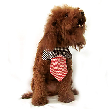 Plaid Pattern Necktie Style Neckerchief Bandana Saliva Towel for Dogs Cats (S-L)