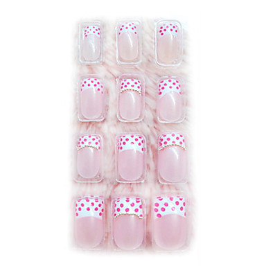 24PCS 3D Pearl Nail Art Tips Application of Gum Luxurious Bride Pink Spot